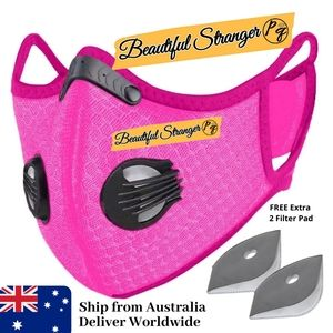 1Set Face Mask Pink with Dual Air Breathing Valves
